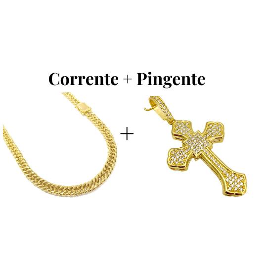 kit Corrente Double Grumet 7,5mm 60cm 47g (Fecho Gaveta Duplo) + Pingente Crucifixo Catedral Cravejado em Zircônia 14g (5,2x3,2cm)
