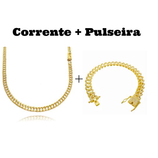 kit Corrente Double Grumet Diamantada 4mm 60cm 18g (Fecho Gaveta) + Pulseira Cuban Link Cravejada em Zircônia 10mm (23,6g)