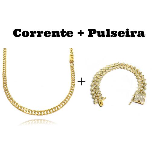 kit Corrente Double Grumet Diamantada 4mm 60cm 18g (Fecho Gaveta) + Pulseira Cuban Link Retangular Cravejada em Zircônia 14mm (32,1g)