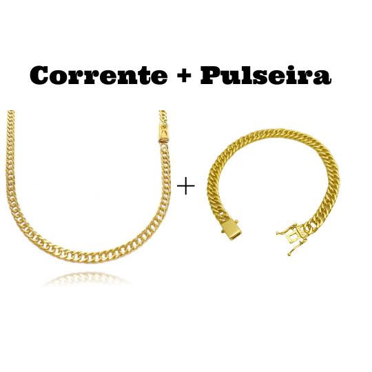 kit Corrente Double Grumet Diamantada 4mm 60cm 18g (Fecho Gaveta) + Pulseira Double Grumet 7,5mm 17g (Fecho Gaveta Duplo)
