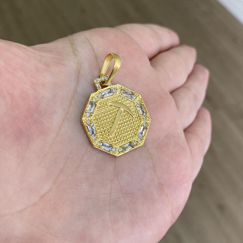 kit Corrente Double Grumet Diamantada 5,5mm 60cm 28g (Fecho Gaveta Dupla) (Banho Ouro 24K) + Pingente Placa GDO Cravejado em Zircônia (2,8cmX2,4cm) (Banho Ouro 24k)