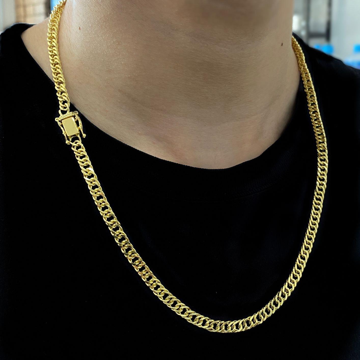 kit Corrente Double Grumet Diamantada 5,5mm 60cm 28g (Fecho Gaveta Dupla) (Banho Ouro 24K) + Pingente São Jorge Texturizado Cravejado em Zircônia (2,8cmX2,5cm) (Banho Ouro 24k)