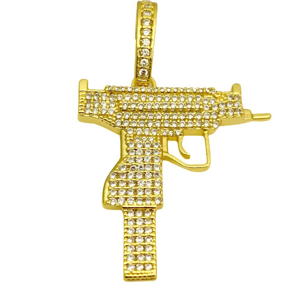 kit Corrente Double Grumet Diamantada 5,5mm 60cm 28g (Fecho Gaveta Dupla) + Pingente Arma UZI Cravejado em Zircônia (3,9cmX3,9cm) (Banho Ouro 24k)