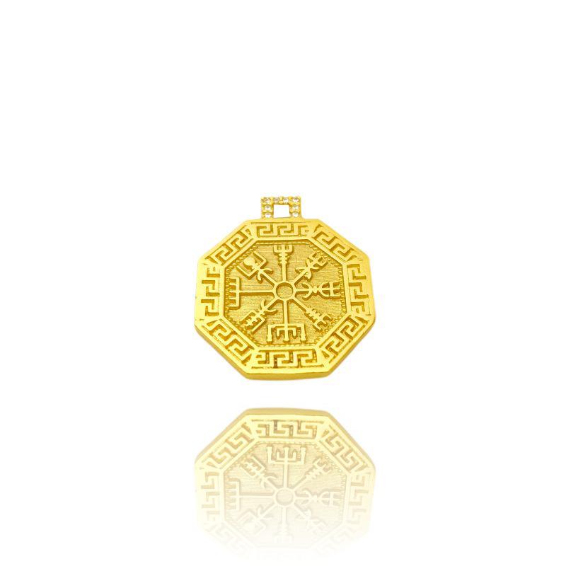 KIT Corrente Double Grumet Diamantada 5,5mm 60cm 28g (Fecho Gaveta Dupla) + Pingente Bússola Viking Cravejado em Zircônia (2,8cmX2,5cm)