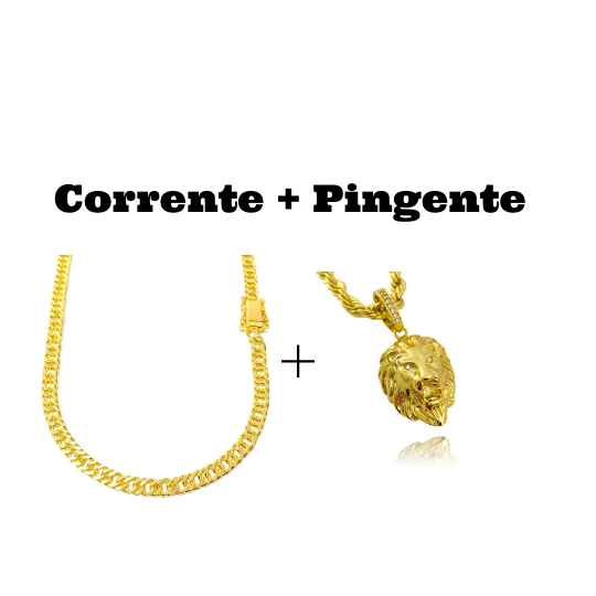 kit Corrente Double Grumet Diamantada 5,5mm 60cm 28g (Fecho Gaveta Dupla) + Pingente Leão Maciço 3,0x2,2cm (17g) (Banho Ouro 24k)
