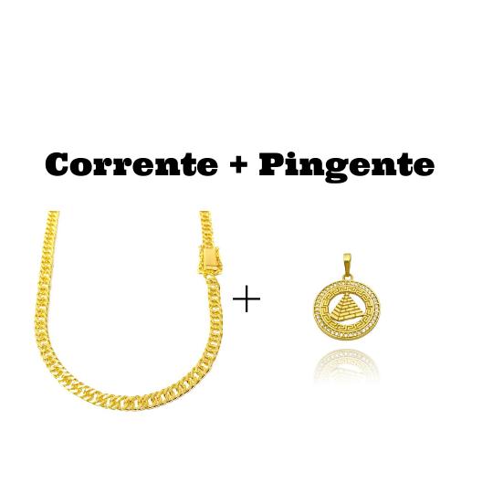 kit Corrente Double Grumet Diamantada 5,5mm 60cm 28g (Fecho Gaveta Dupla) + Pingente Pirâmide Cravejada em Zircônia (2,7cmX2,5cm)