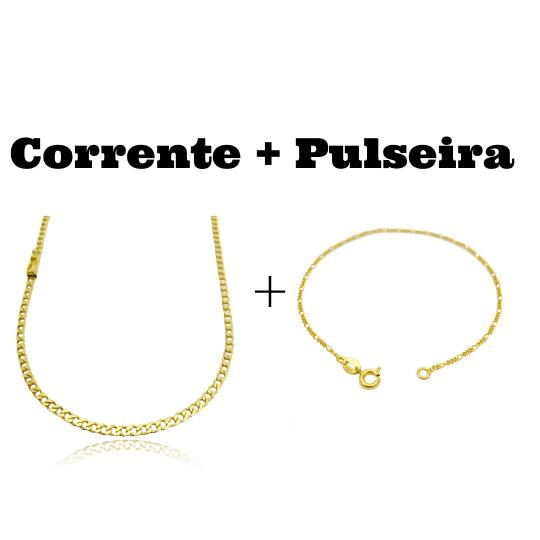 kit Corrente Grumet 3,2mm 60cm 10g (Fecho Gaveta) + Pulseira 3 por 1 1,6mm (Fecho Tradicional)
