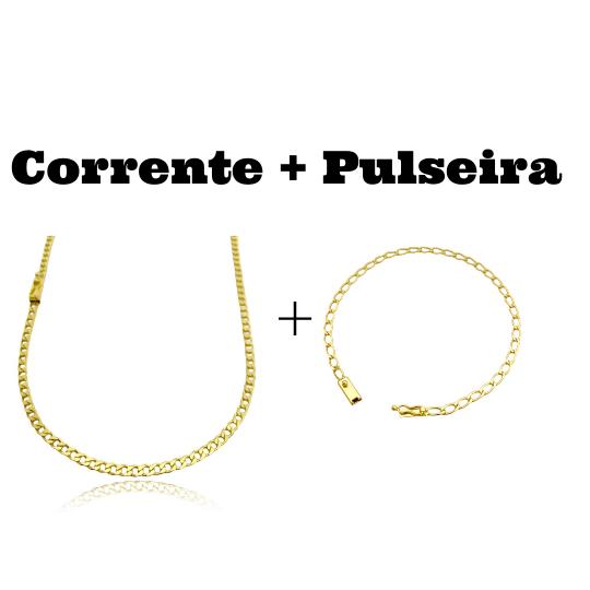 kit Corrente Grumet 3,2mm 60cm 10g (Fecho Gaveta) + Pulseira Grumet Aberta 3,5mm (Fecho Gaveta)