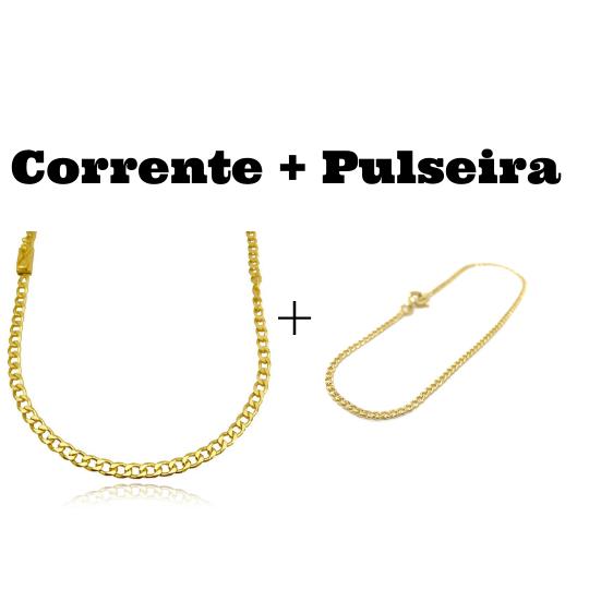 kit Corrente Grumet 4,5mm 60cm 20g (Fecho Gaveta) + Pulseira Grumet 2mm (Fecho Tradicional)