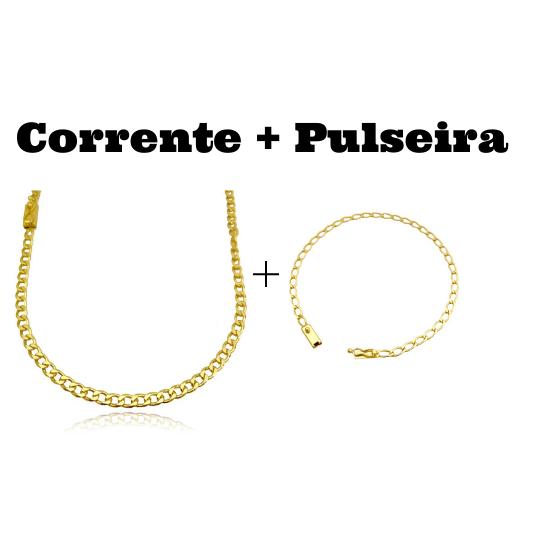 kit Corrente Grumet 4,5mm 60cm 20g (Fecho Gaveta) + Pulseira Grumet Aberta 3,5mm (Fecho Gaveta)