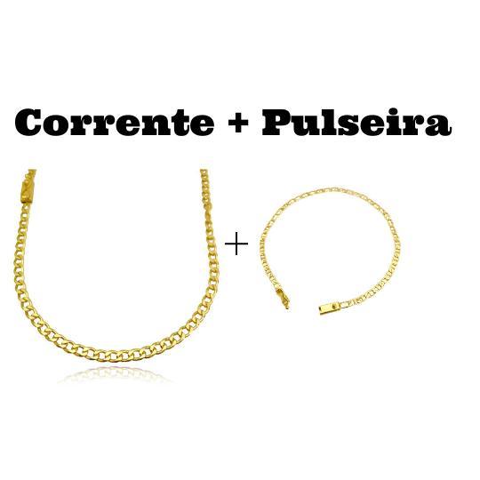kit Corrente Grumet 4,5mm 60cm 20g (Fecho Gaveta) + Pulseira Piastrine 3,3mm (Fecho Gaveta)