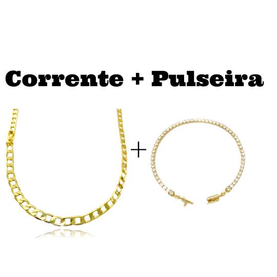 kit Corrente Grumet 5,5mm 60cm 20g (Fecho Gaveta) + Pulseira Riviera Pedras de Zircônia 3mm (Fecho Canhão)