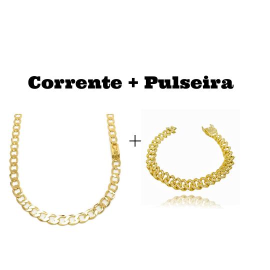 kit Corrente Grumet 6,5mm 60cm (22,5g) (Fecho Gaveta) + Pulseira Cuban Link Cravejada em Zircônia 10mm (23,6g)