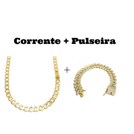 kit Corrente Grumet 6,5mm 60cm (22,5g) (Fecho Gaveta) + Pulseira Cuban Link Retangular Cravejada em Zircônia 14mm (32,1g)