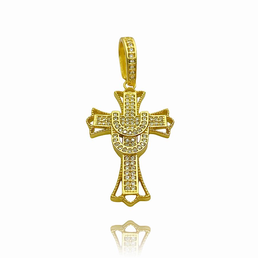 kit Corrente Grumet 6mm 60cm (33,2g) (Fecho Gaveta Duplo) + Pingente Crucifixo Cravejado (4,5cmX2,9cm) (7g) (Banho Ouro 24k)