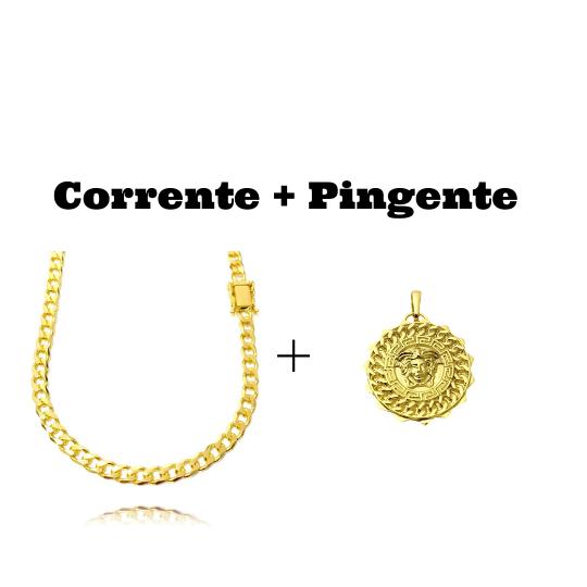 kit Corrente Grumet 6mm 60cm (33,2g) (Fecho Gaveta Duplo) + Pingente Medusa Sun 6,5g 2,7cm x 2,7cm