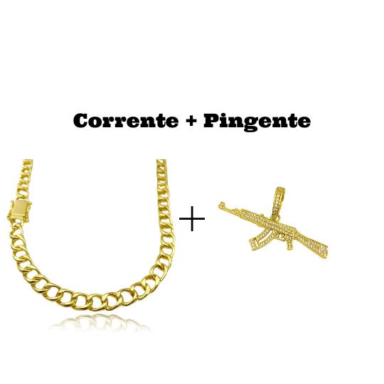 kit Corrente Grumet 7,5mm 60cm 35g (Fecho Gaveta Duplo) + Pingente Arma AK47 Cravejada em Zircônia (6cmX2,4cm)