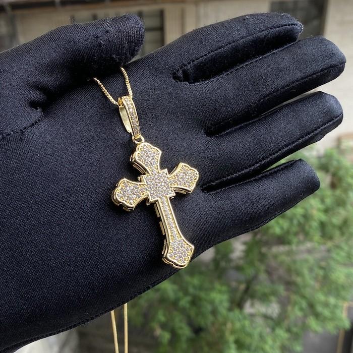 kit Corrente Grumet 7,5mm 60cm 35g (Fecho Gaveta Duplo)  + Pingente Crucifixo Catedral Cravejado em Zircônia 14g (5,2x3,2cm)