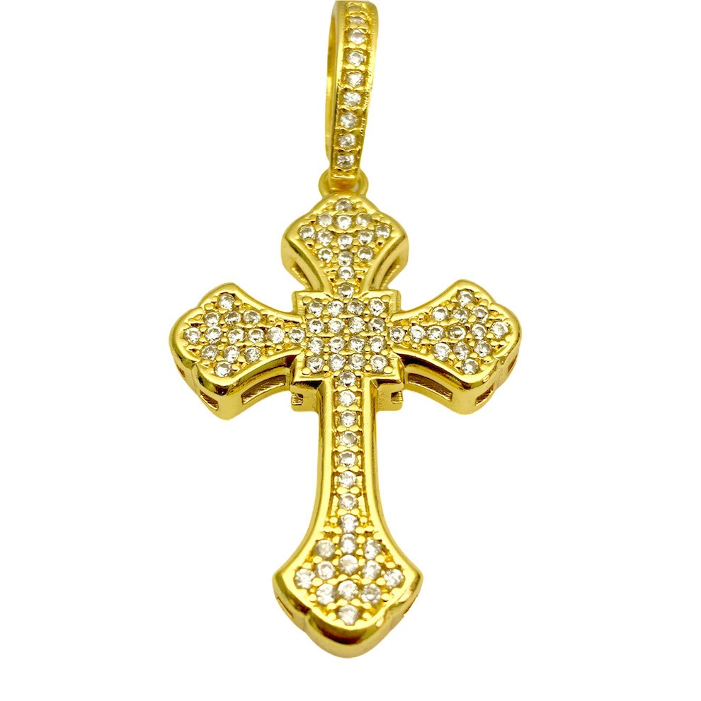 kit Corrente Grumet 7,5mm 60cm 35g (Fecho Gaveta Duplo) + Pingente Crucifixo Catedral Cravejado em Zircônia 9,5g 4,3cm X 2,9cm