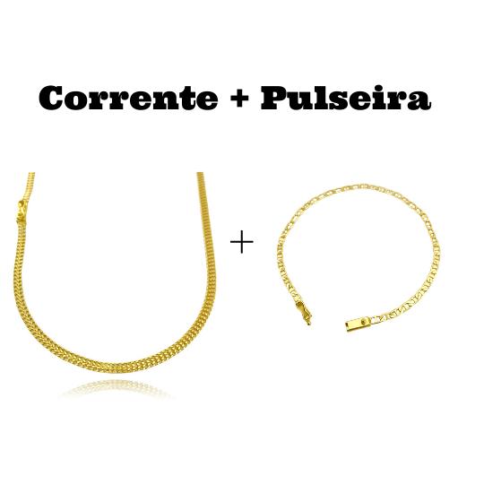 kit Corrente Grumet Union 3,3mm 60cm 7g (Fecho Gaveta) + Pulseira Piastrine 3,3mm (Fecho Gaveta)