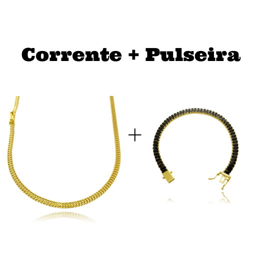 kit Corrente Grumet Union 3,3mm 60cm 7g (Fecho Gaveta) + Pulseira Riviera Baguetes 5mm (Pedras de Zircônia Preta) (Fecho Gaveta Duplo)