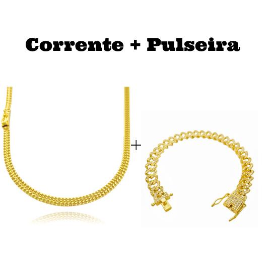 kit Corrente Grumet Union 4mm 60cm 13,5g (Fecho Gaveta) + Pulseira Cuban Link Cravejada em Zircônia 10mm (23,6g)