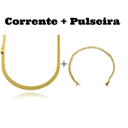 kit Corrente Grumet Union 4mm 70cm 15g (Fecho Gaveta) + Pulseira Carrier Cadeado 4mm (Fecho Canhão) (8,2g)