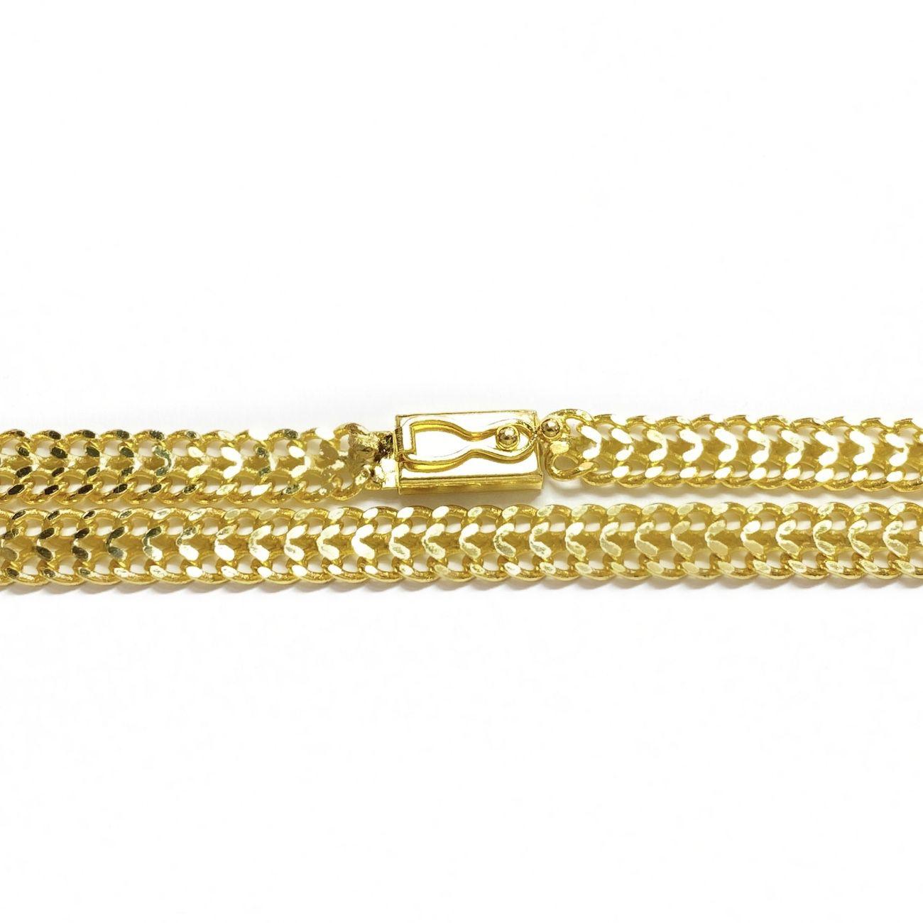 kit Corrente Grumet Union 6mm 60cm (22,1g) (Fecho Gaveta) + Pingente Cifrão $ Cravejado em Zircônia (Dourado) 4,6cm X 2,9cm 9g