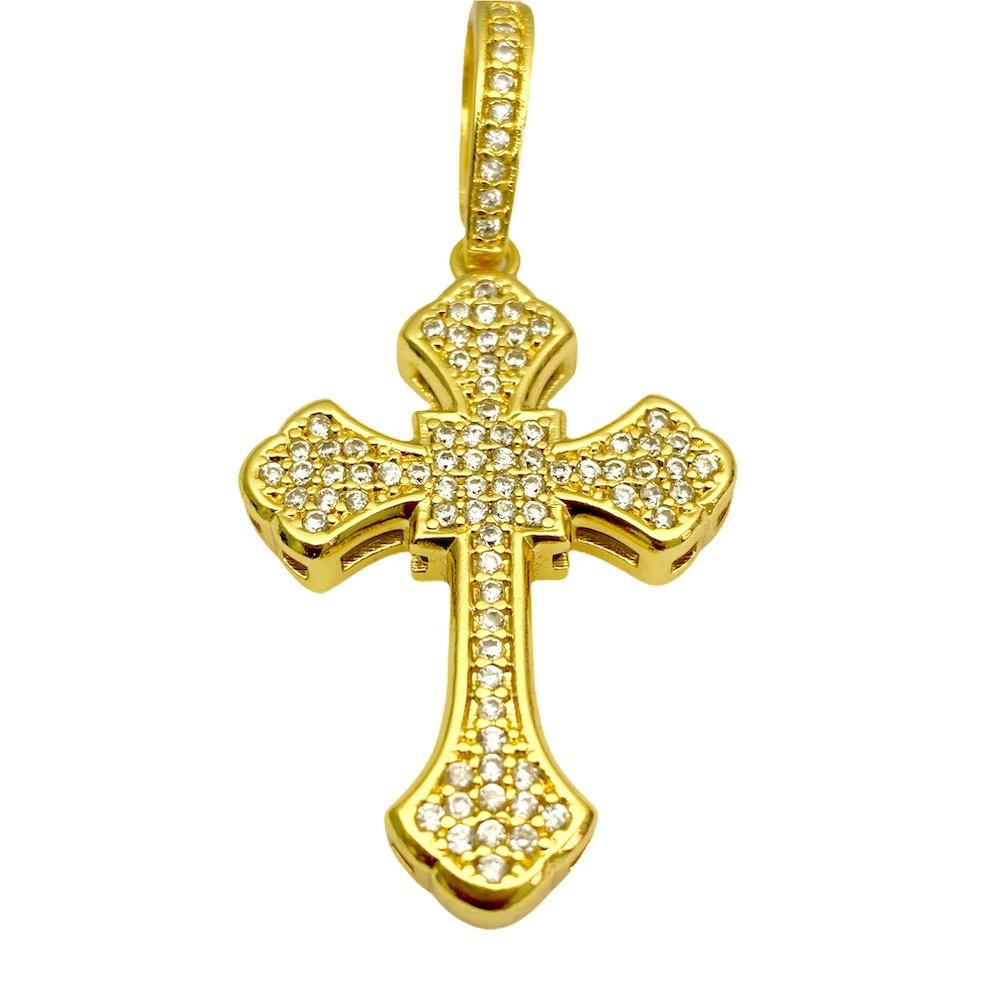 kit Corrente Grumet Union 7mm 60cm (32,6g) (Fecho Gaveta) (Banho Ouro 24k) + Pingente Crucifixo Catedral Cravejado em Zircônia 9,5g 4,3cm X 2,9cm