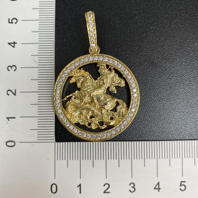 kit Corrente Grumet Union 7mm 60cm (32,6g) (Fecho Gaveta) (Banho Ouro 24k) + Pingente Medalha São Jorge Vazado Cravejado (4cmX3,6cm) (11g)