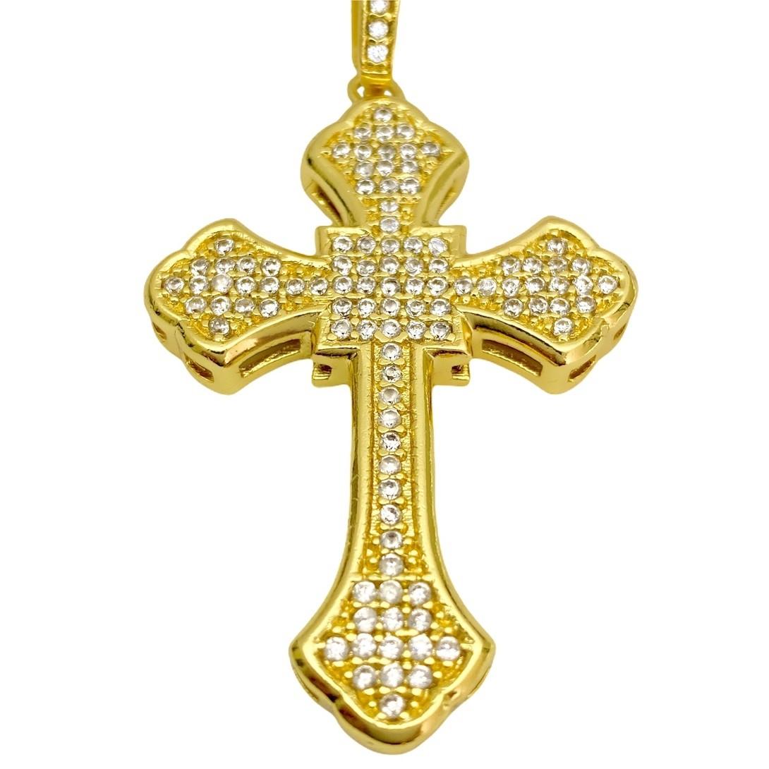 kit Corrente Grumet Union 7mm 60cm (32,6g) (Fecho Gaveta) + Pingente Crucifixo Catedral Cravejado em Zircônia 14g (5,2x3,2cm)