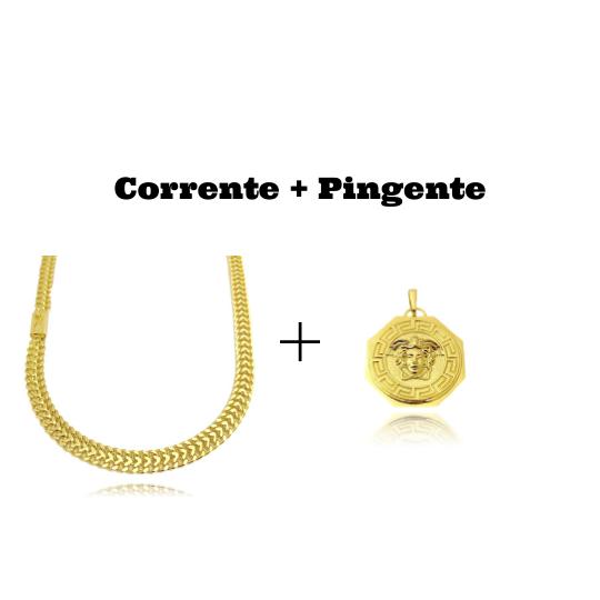 kit Corrente Grumet Union 7mm 60cm (32,6g) (Fecho Gaveta) + Pingente Medusa Octa 6,5g 2,7cm x 2,7cm