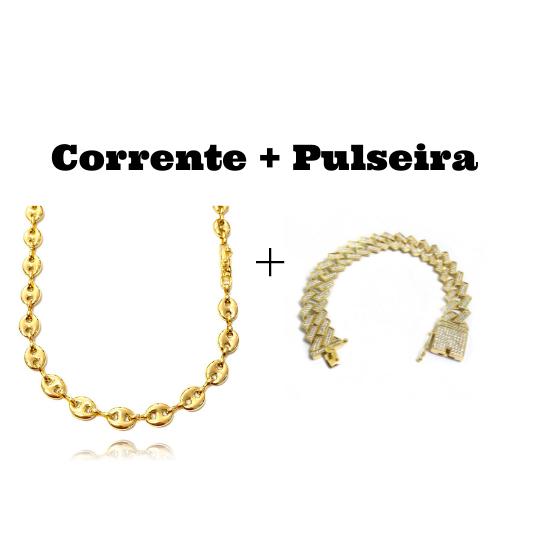 kit Corrente Gucci Link 8mm 60cm (25,6g)Corrente Gucci Link 8mm 60cm (25,6g) + Pulseira Cuban Link Retangular Cravejada em Zircônia 14mm (32,1g)