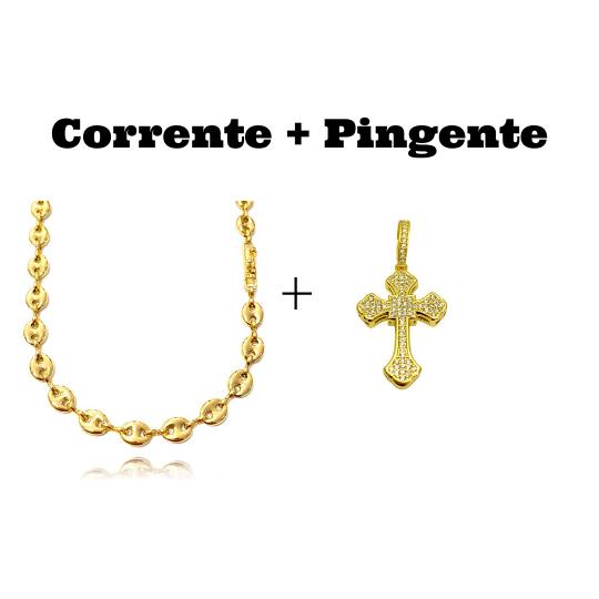 kit Corrente Gucci Link 8mm 60cm (25,6g) + Pingente Crucifixo Catedral Cravejado em Zircônia 9,5g 4,3cm X 2,9cm