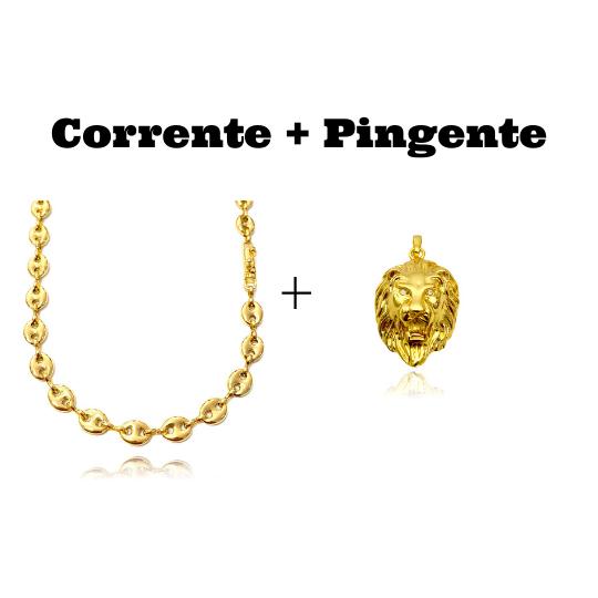 kit Corrente Gucci Link 8mm 60cm (25,6g) + Pingente Leão Maciço 3,0x2,2cm (17g)
