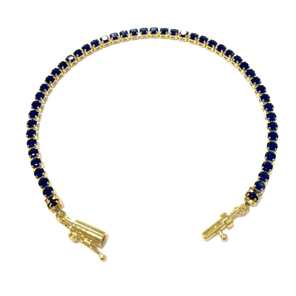 kit Corrente Gucci Link 8mm 60cm (25,6g) + Pulseira Riviera Pedras de Zircônia Azul 3mm 7g (Fecho Canhão)