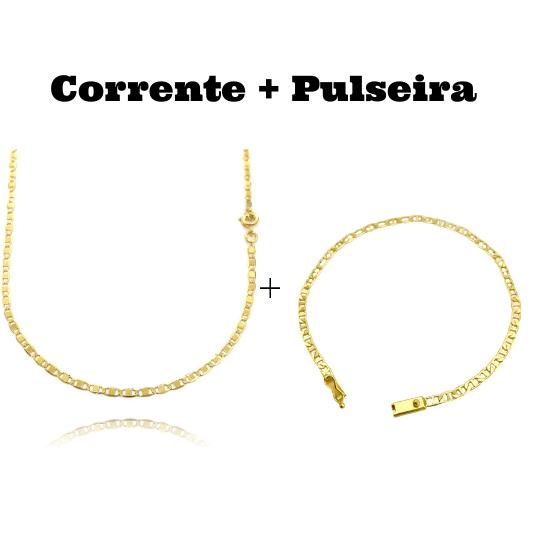 kit Corrente Piastrine 2mm 60cm (Fecho Tradicional) + Pulseira Piastrine 3,3mm (Fecho Gaveta)