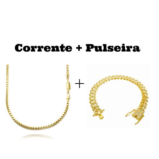 kit Corrente Veneziana 2,8mm 60cm 19,8g (Fecho Canhão) + Pulseira Cuban Link Cravejada em Zircônia 10mm (23,6g)