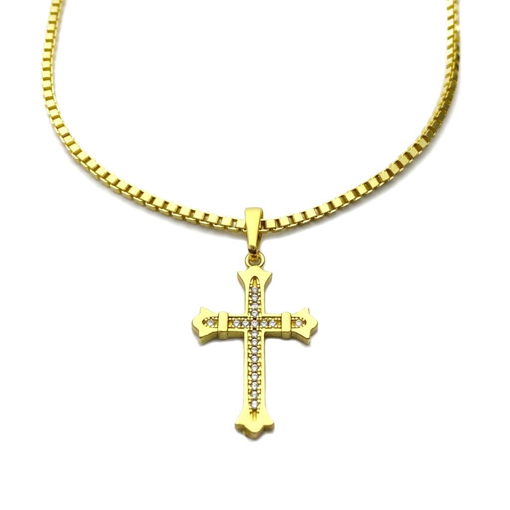Kit Corrente Veneziana 2mm 70cm 14,5g (Fecho Gaveta) (Banho Ouro 24k) + Pingente Crucifixo Gótico Cravejado em Zircônia 2,8cm X 1,8cm