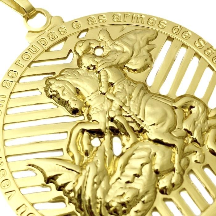 Pingente Medalhão de São Jorge Vazado (4,1cmX3,7cm) (Banho Ouro 24k)