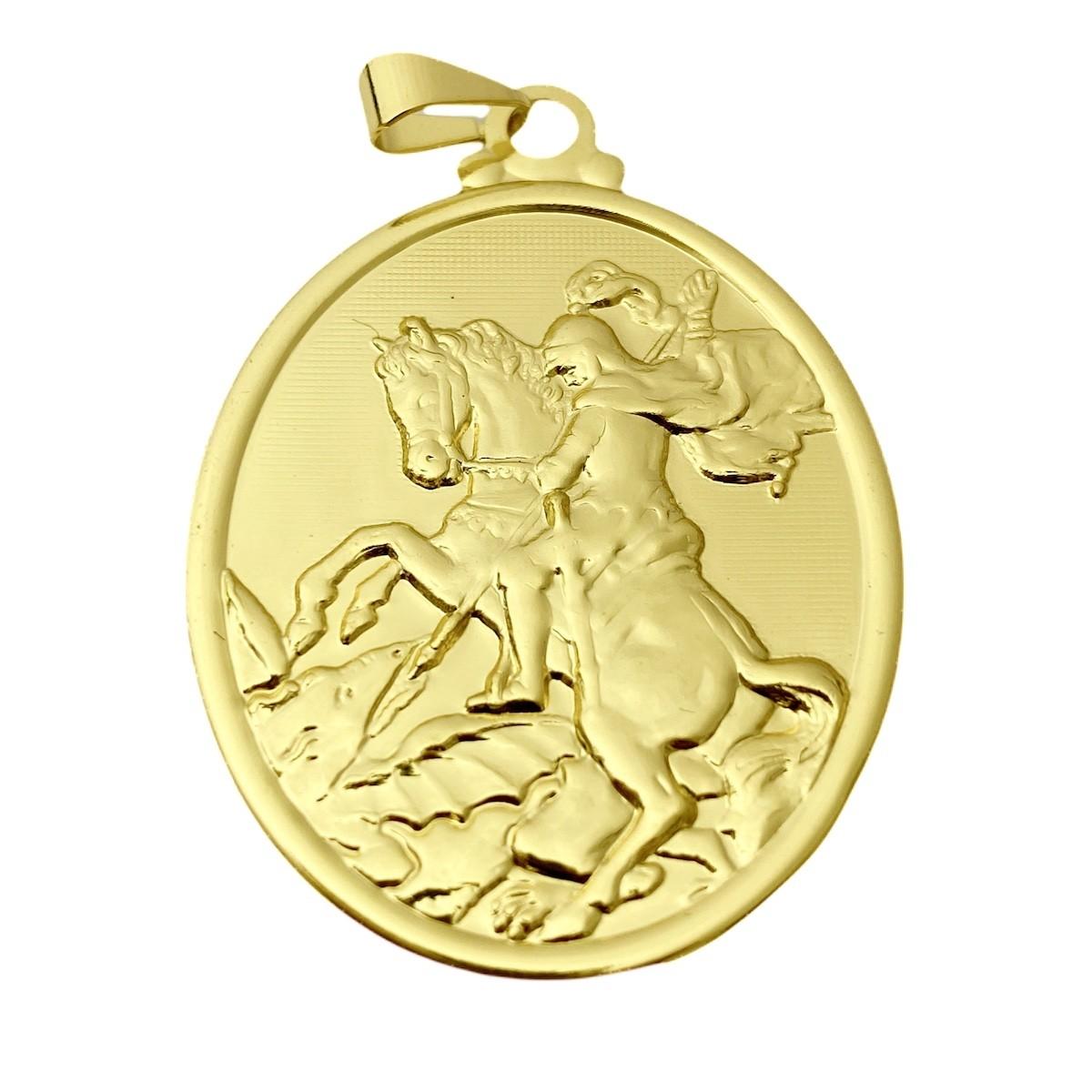 Medalhão Oval de São Jorge 4,0cm X 3,3cm