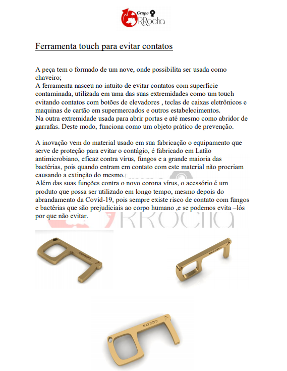 Key Touch GDO (Chaveiro Antimicrobiano) 100 Unidades