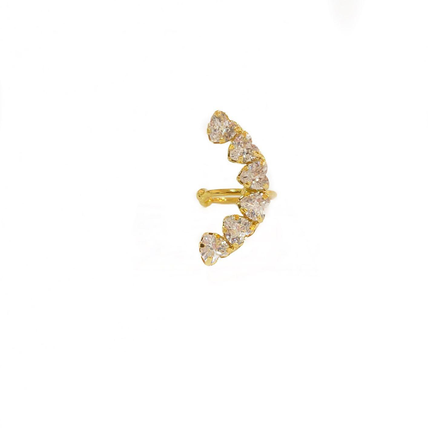 Piercing Fake Concha Helix Cravado em Zircônia (Banho Ouro 24k)
