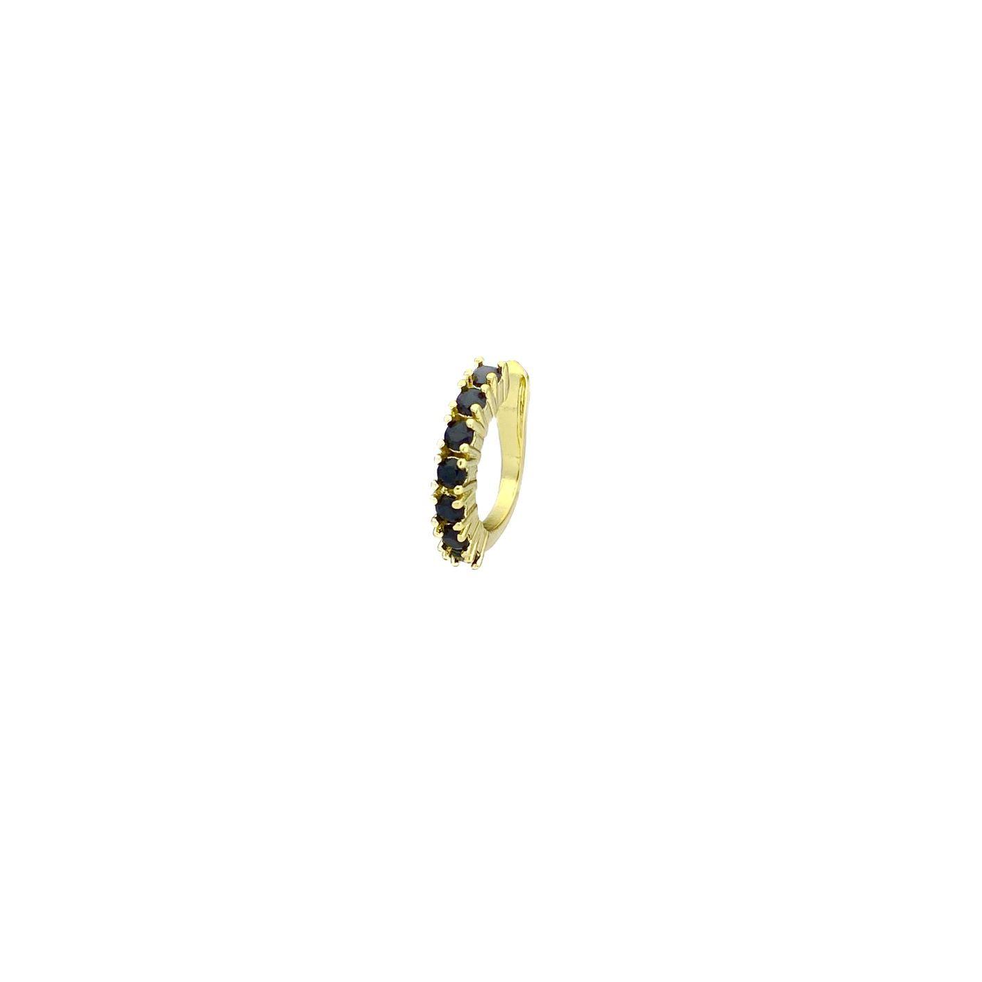 Piercing Fake Concha Helix Zircônia Negra 1 Fileira (Banho Ouro 24k)