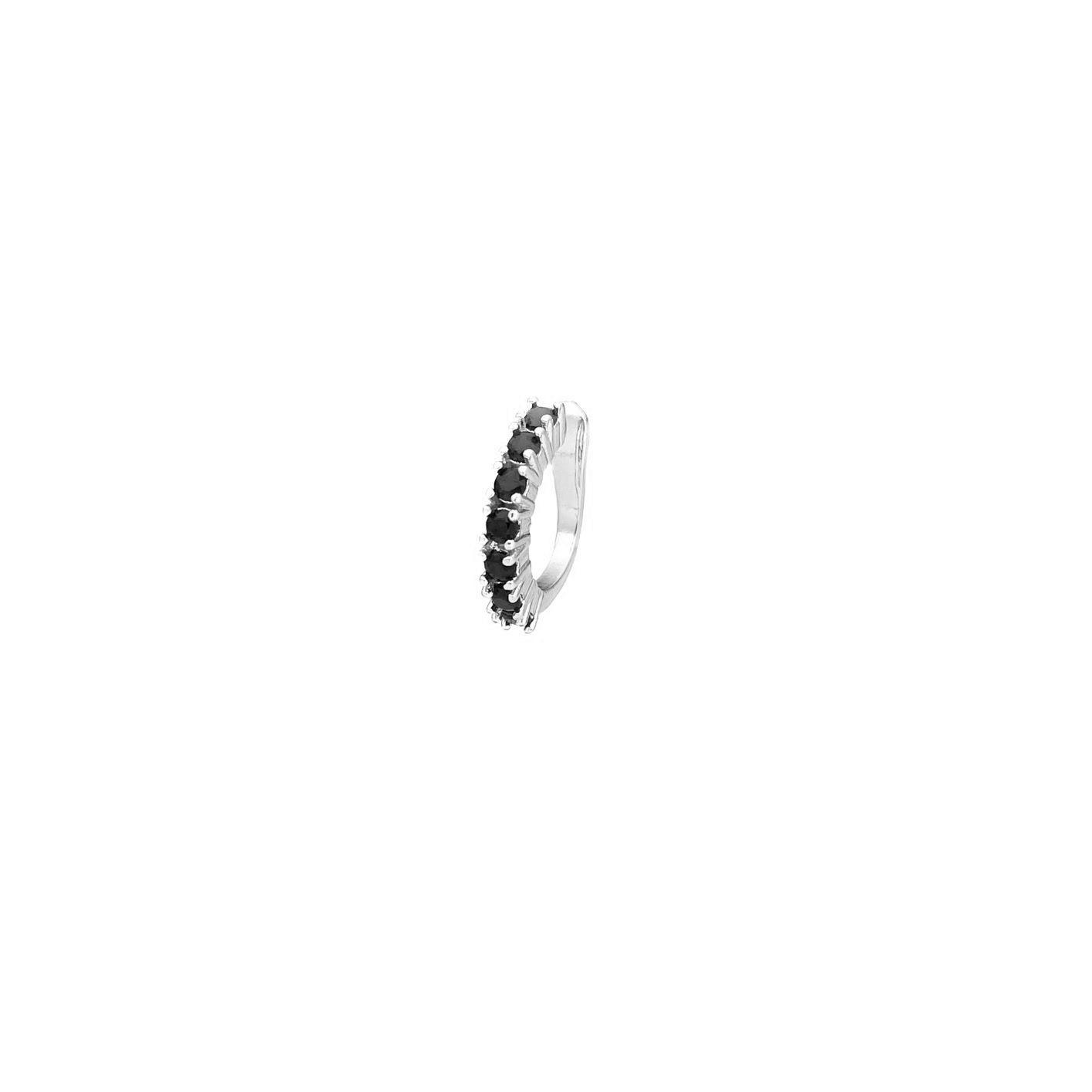 Piercing Fake Concha Helix Zircônia Negra 1 Fileira (Banho Prata 925)