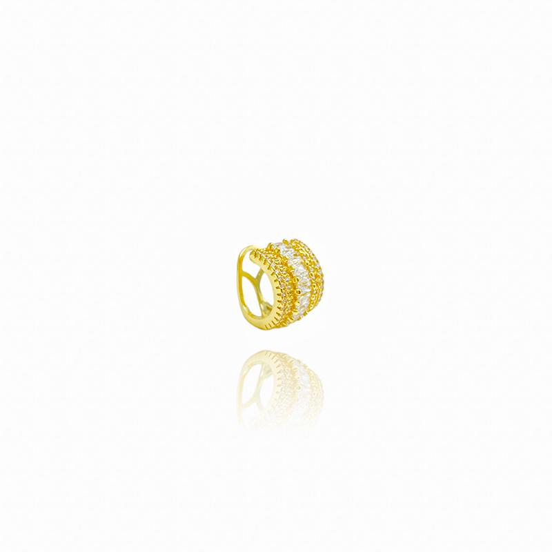 Piercing Fake Hélix Cravejado com Baguetes de Zirconia (Banho Ouro 24k)