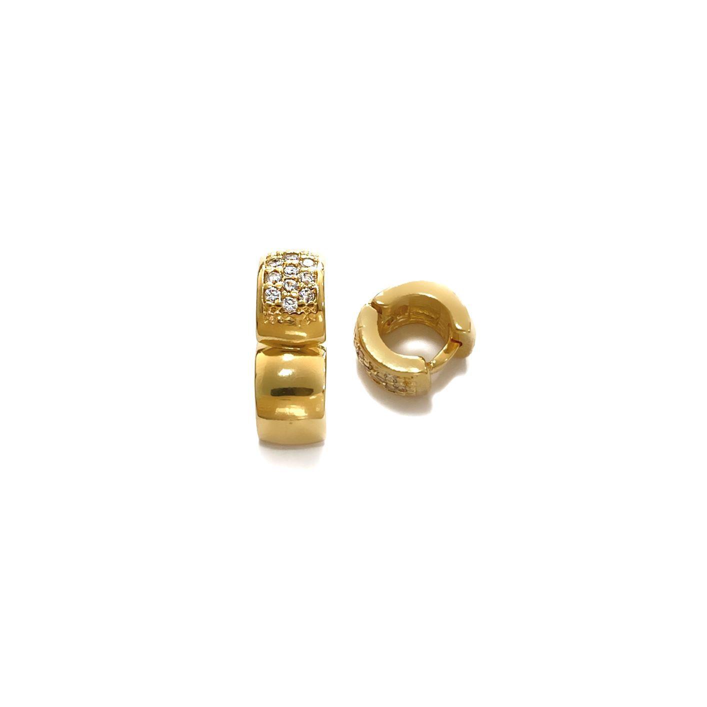 Piercing Hélix Argola Cravejada 10 Pedras Zircônia (Banho Ouro 24k)