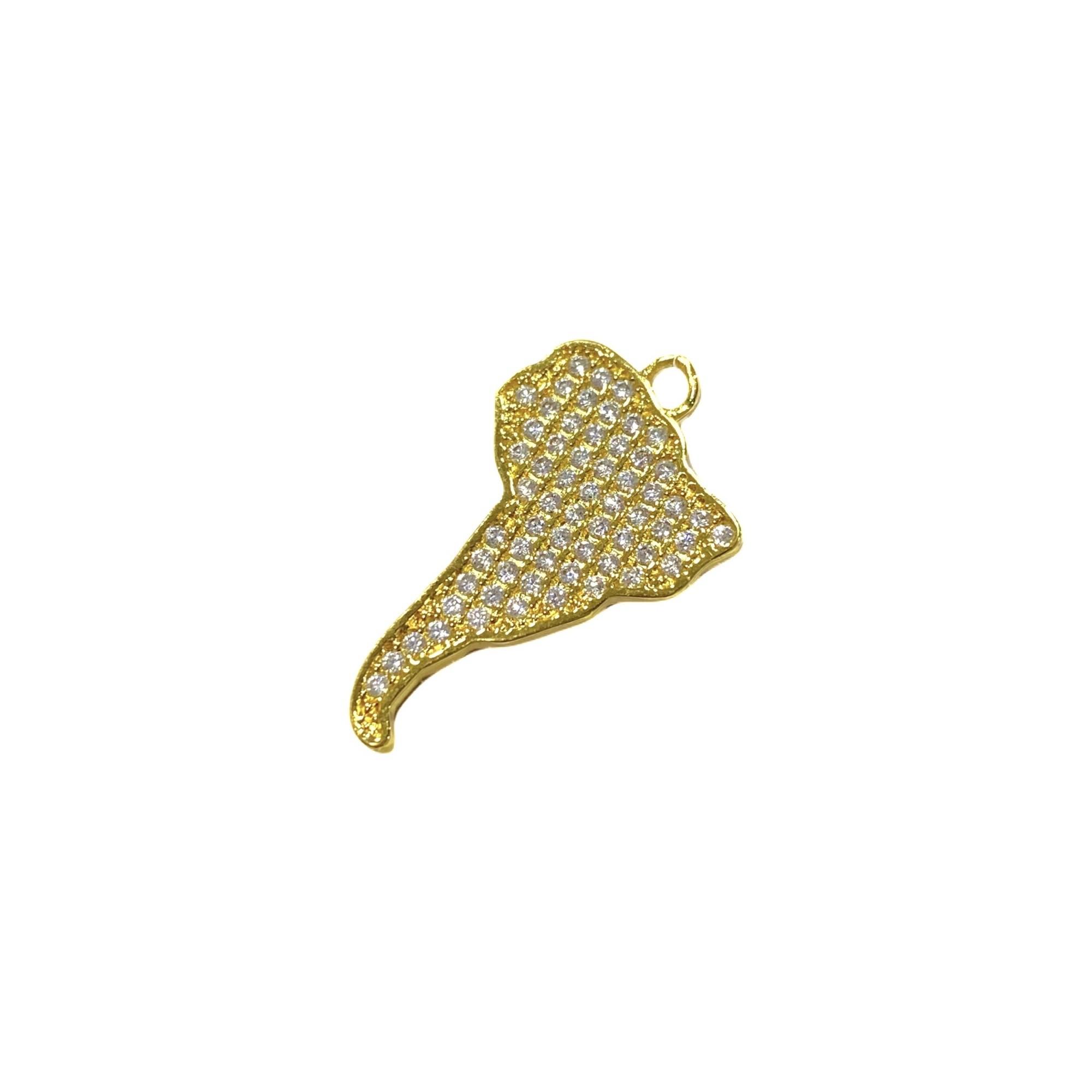 Pingente América do Sul Cravejado em Zircônia 2cm X 2xm (Banho Ouro 24k)