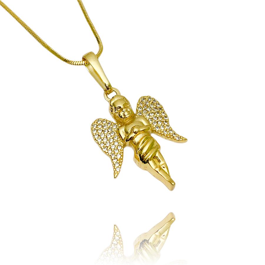 Pingente Anjo Cravejado em Zircônia (3cmX2cm) (Banho Ouro 24k)