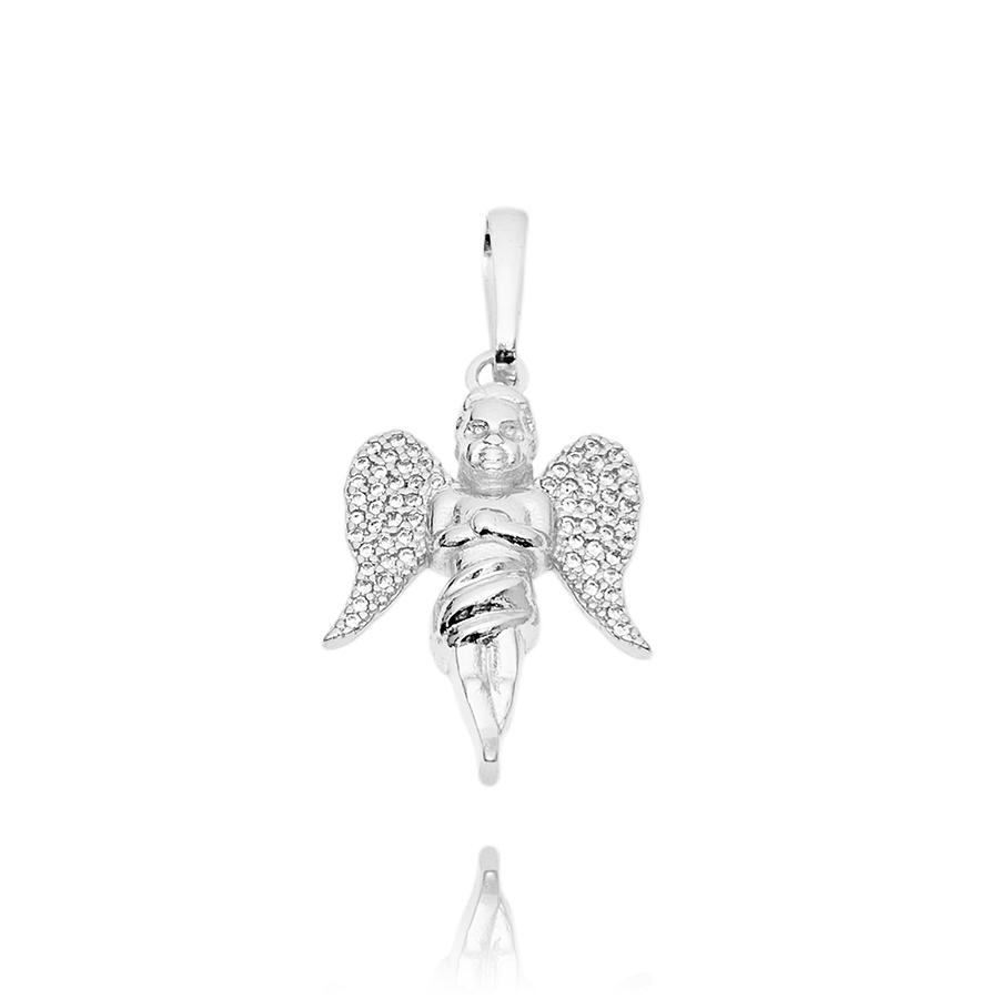 Pingente Anjo Cravejado em Zircônia (3cmX2cm) (Banho Prata 925)